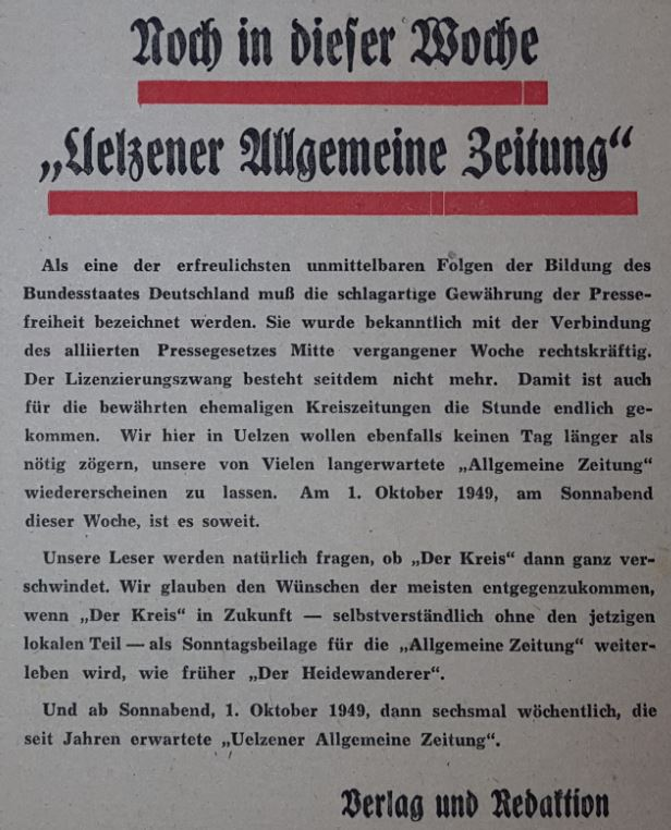 Allgemeine Zeitung Uelzen 1949