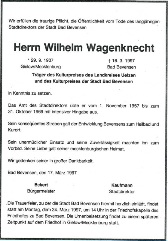 Wilhelm Wagenknecht Sterbeanzeige