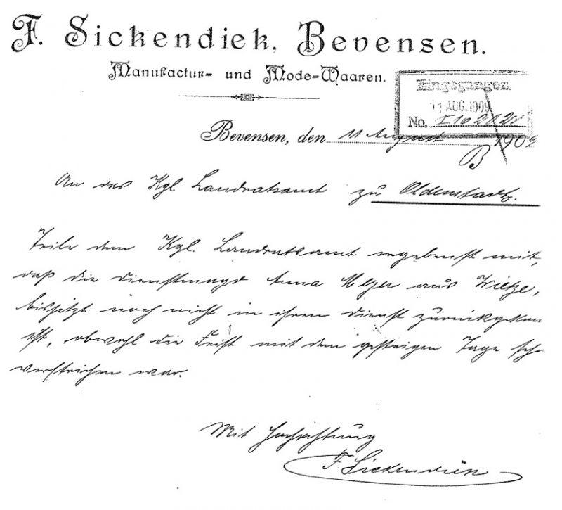 Schreiben des Kaufmanns Sickendieck | Unsittliche Zumutung?