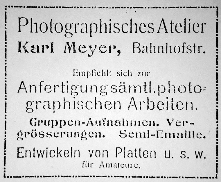 Reklame vom Fotogeschäft Karl Meyer in Bevensen