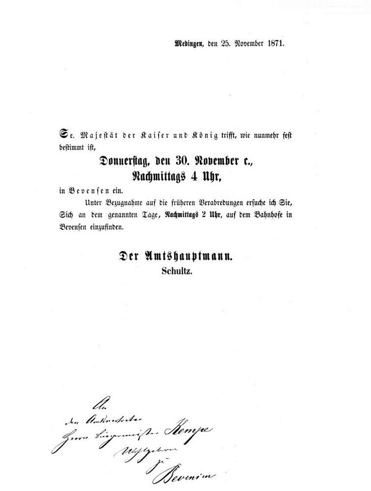 Nicht nur Wilhelm I fuhr über Bevensen zu seinem Jagdgebiet in der Göhrde, sondern auch Wilhelm II