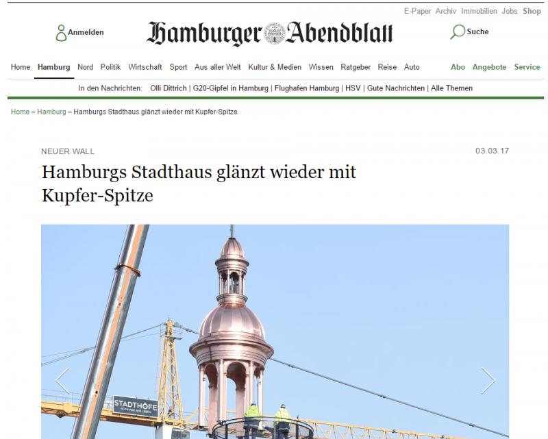 Hamburger Abendblatt über das Stadthaus